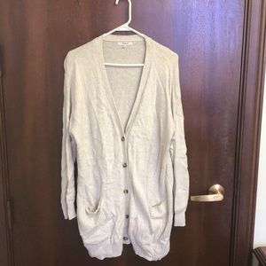 Madewell Cream Long Button Cardigan